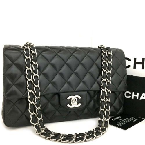 a9d0000b3e5c32 CHANEL Double Flap 25 Quilted CC Silver Hardware Lambskin Shoulder Bag  /q-214