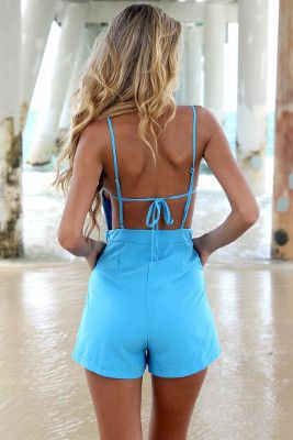 The Summer Fling Playsuit Romper is made of Polyester Broadcloth, and feels luxurious and airy. This is a fabulous blue romper for the beach or for a day about town. Small Size 0-2 Medium size 2-4 #blueromper #romperblue #bluejumpsuit #bluejumpsuits