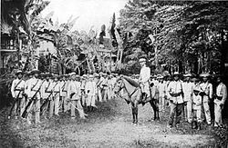 "Gregorio del Pilar and his troops … around the time of ""The Battle of Tirad Pass"" aka ""Philippine Thermopylae"".  This was a battle in the Philippine-American War fought on December 2, 1899 in northern Luzon, Philippines.  A 60-man Filipino rear guard commanded by Brigadier General Gregorio del Pilar succumbed to around 300 Americans of the 33rd Infantry Regiment under Major Peyton C. March, while delaying the American advance to ensure Emilio Aguinaldo's escape."