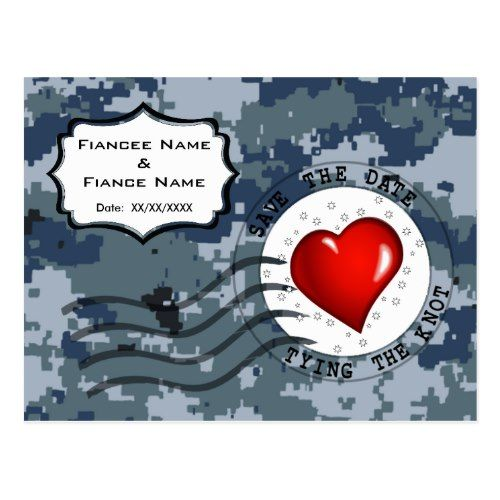 USN Navy Save the Date and Heart Postcard