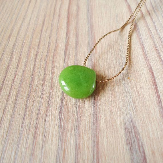 Green Jade choker necklace, black silk cord stone choker, minimal floating smooth heart jadeite necklace, yoga everyday gemstone choker