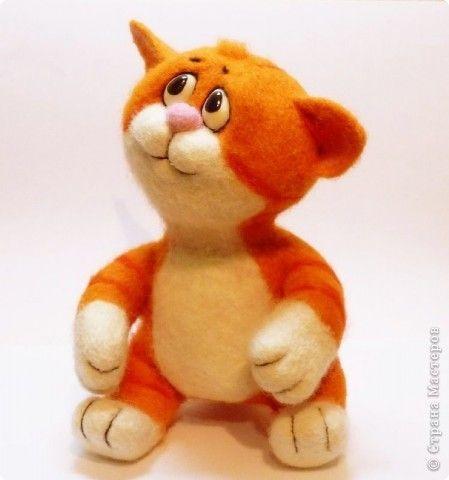 Игрушка Валяние фильцевание Рыжий котёнок Шерсть фото 1