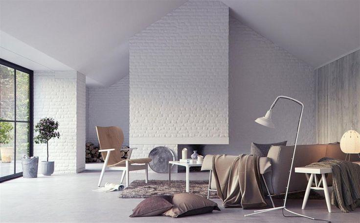 | Interior: White Exposed Brick Interior Wall Render, brick wall design ...