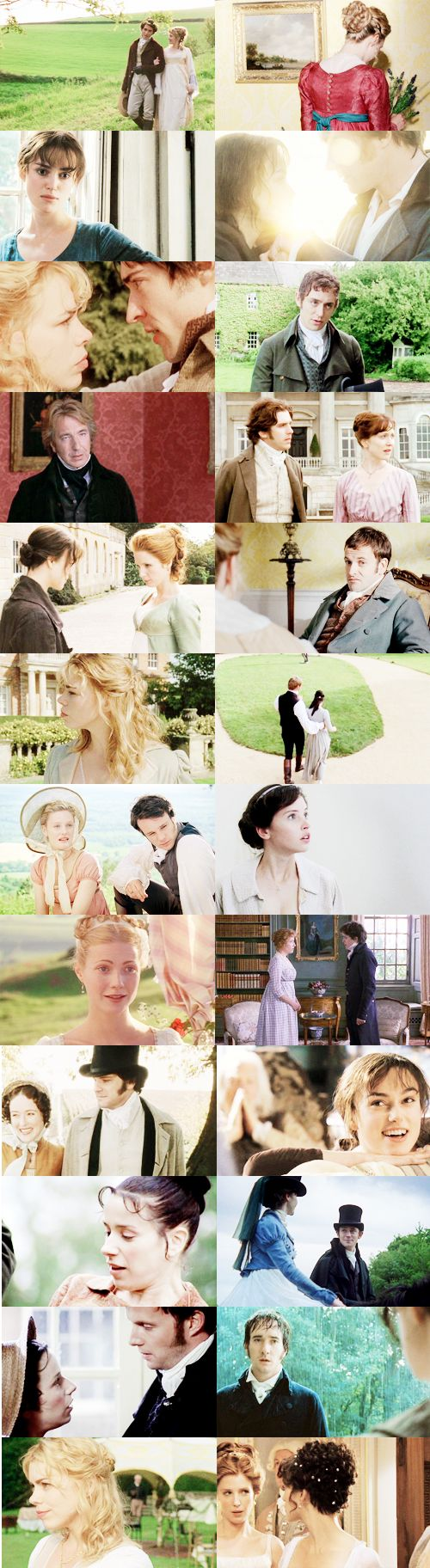 Jane Austen film adaptations. LOVE THIS. Well that just about sums it all up! <<< it's missing my favorite adaptation of persuasion but it'll do.