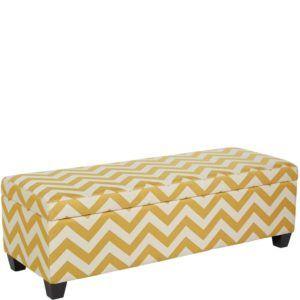 Yellow Storage Ottoman Bench