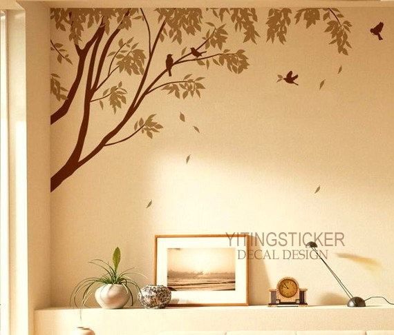 Bedroom Wall Painting Tree : Big tree with flying birds decor art vinyl wall by