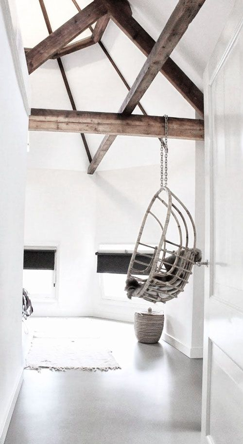 = beams and hanging chair