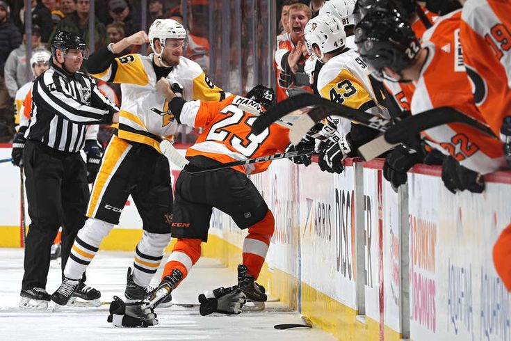 Flyers vs. Penguins - 01/02/2018 - busy night for Jamie Oleksiak - a fight, a goal, and the Steelers helmet !!