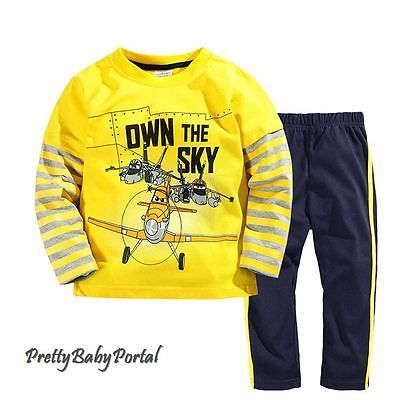NEW-BOYS-Baby-Toddler-Kids-Clothes-2piece-cotton-suit-Yellow-T-shirt-pants