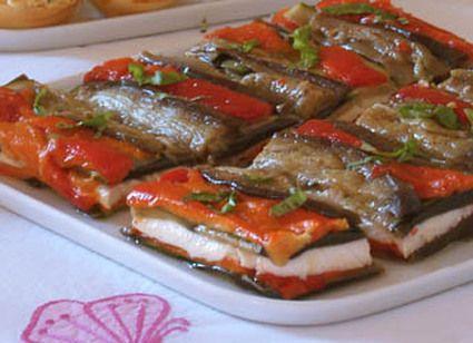 Millefeuille d'aubergine et poivron à la mozzarella