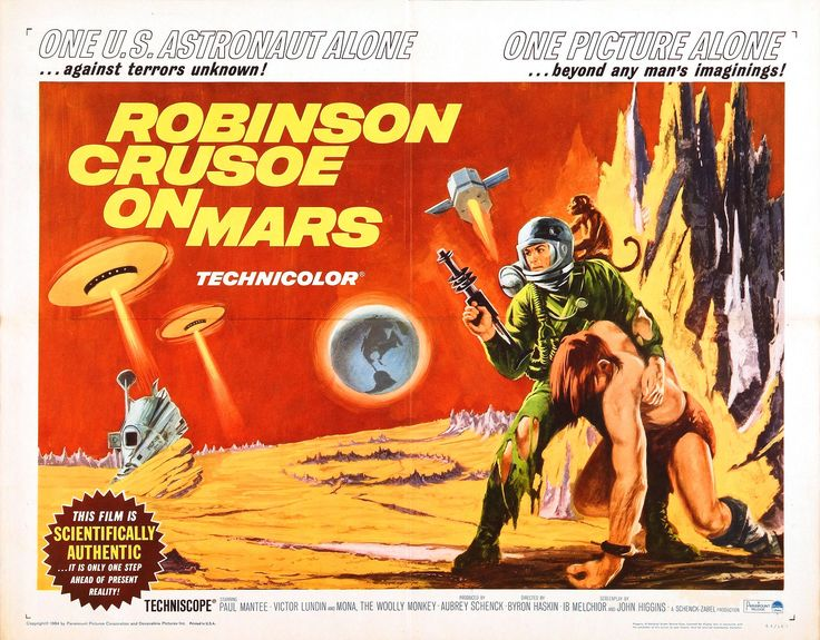 Robinson Crusoe on Mars is a 1964 B movie that was filmed in Death Valley, California.  Commander Kit Draper and Colonel Dan McReady are orbiting Mars in an exploratory surveyor when a malfunction forces them to eject with only Draper and a monkey named Mona surviving. Draper must learn to survive in this hostile environment fighting thirst, hunger and even hostile aliens if he expects to see home again.