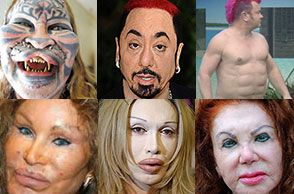 Catman, Catwoman Lizardman and a teenage mutant ninja turtle + Pete Burns (trout pour) and Jackie Stallone