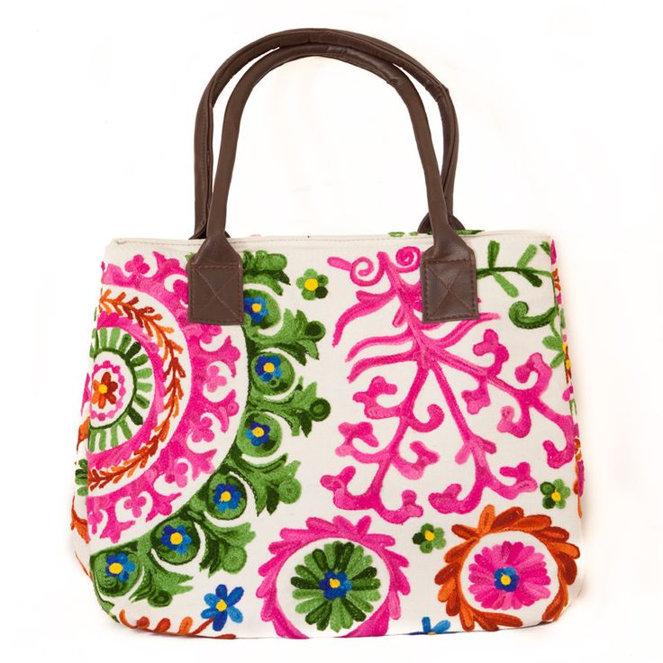 Hand Embroidered Floral Handbag - Pink | The Hues of India