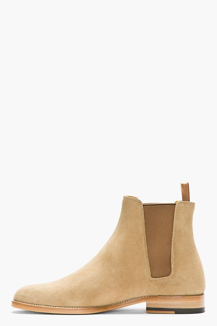 SAINT LAURENT Tan Suede Chelsea Boots