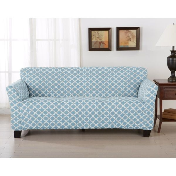Brenna Collection Trellis Print Stretch Form Fitted Sofa Slip Cover By Home  Fashion Designs