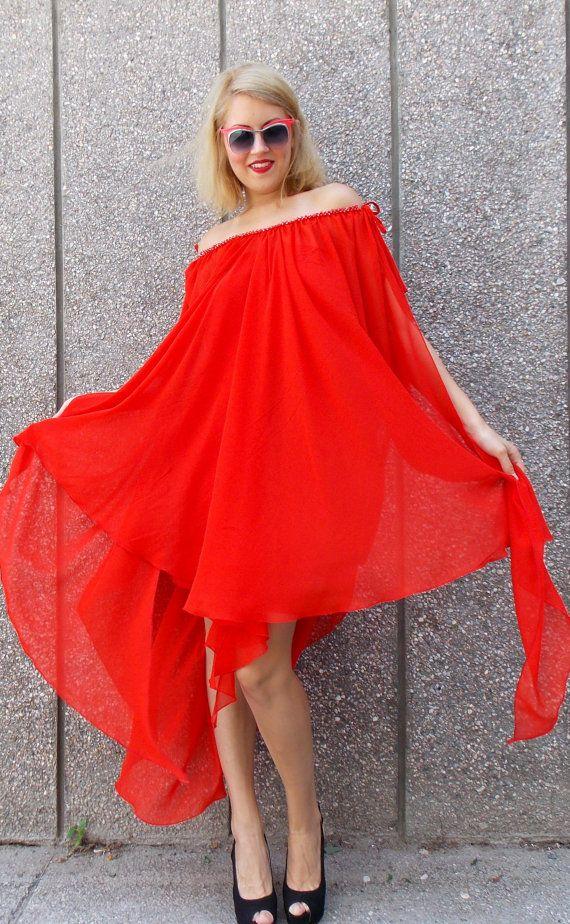 Red asymmetrical kaftan hoodie. Maxi plus size kaftan dress made of sheer red chiffon vaporous veil. Pencil underneath red trikot dress.Red chrystal woven