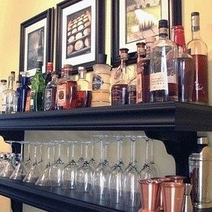 A DIY Shelf Bar   33 Insanely Clever Things Your Small Apartment Needs