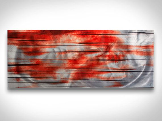 Abstract Metal Wall Art Interlude  Black White Red  by ModernCrowd, $199.00