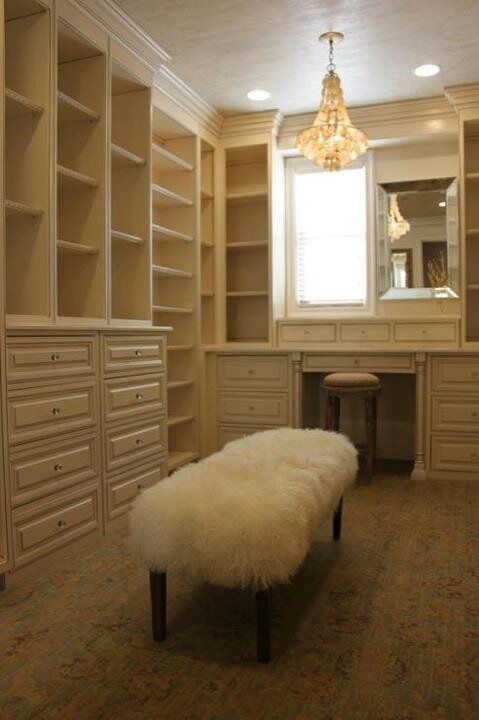 Love the vanity in the closet instead of in the hot bathroom after showering, also love the window next to the mirror for natural light while doing your makeup