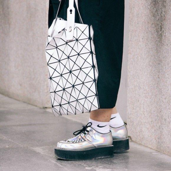 Street Style Details of Milan Fashion Week -issey miyake bag