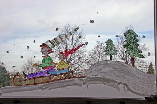 raamschildering winter school -sleetje rijden