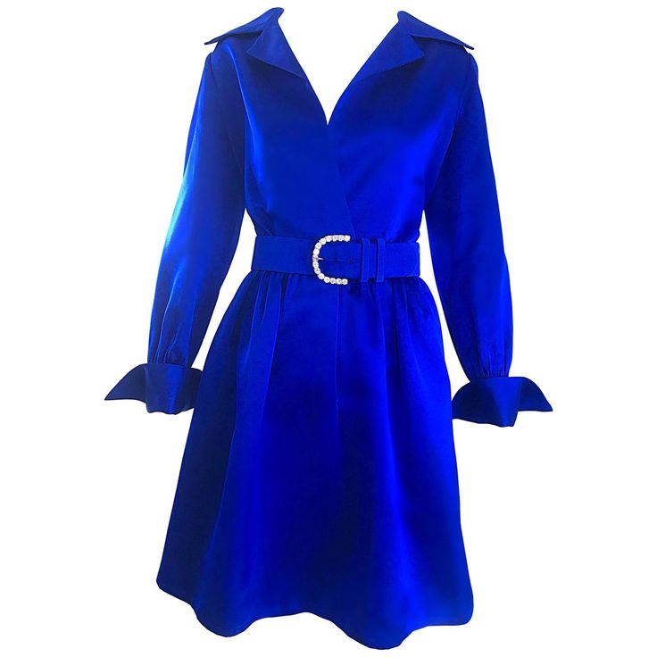 Gorgeous Bill Blass Couture Vintage 1970s Royal Blue Silk Satin Belted 70s Dress   From a collection of rare vintage day dresses at https://www.1stdibs.com/fashion/clothing/day-dresses/