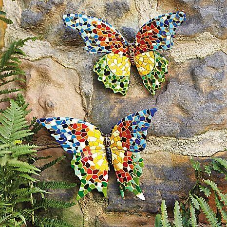 Set of 2 Mosaic Butterflies Wall Decoration #Kaleidoscope #garden