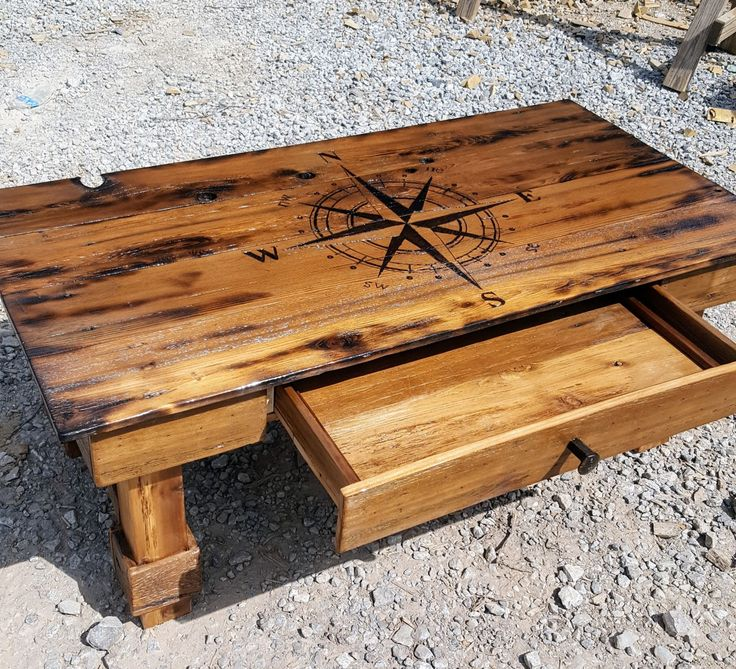 DIY Reclaimed Wood Coffee Table With Compass Burned On Top