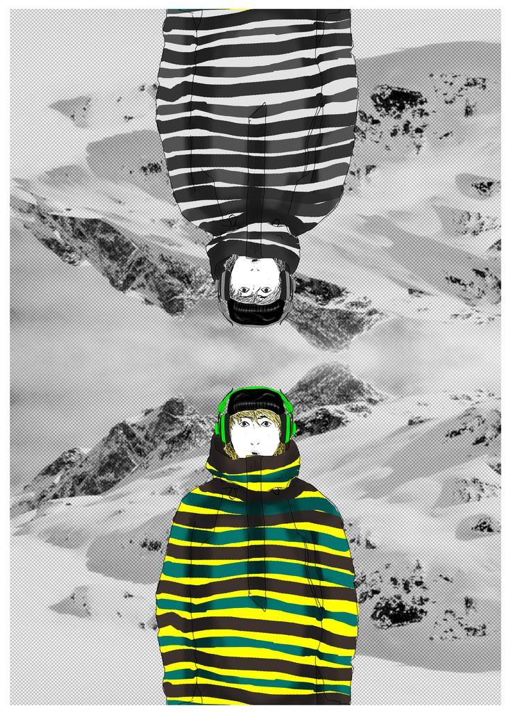 #marcograndis #illustration #snow #snowboard #mountain