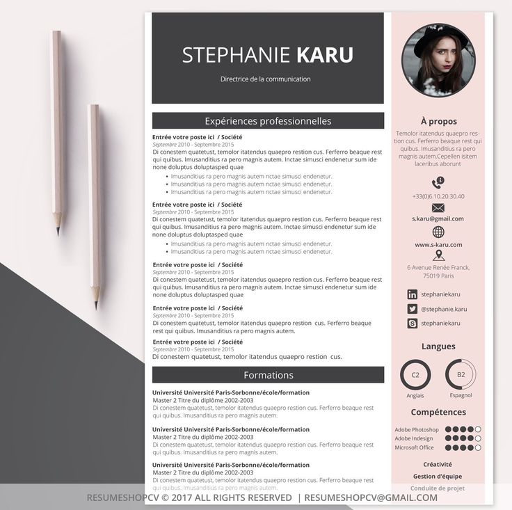 template graphique cv job ete