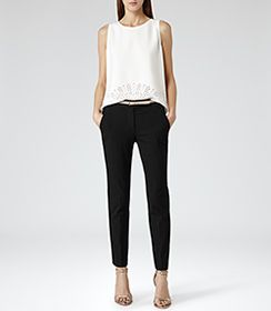 Womens Off White Cut-out Detail Top - Reiss Marther