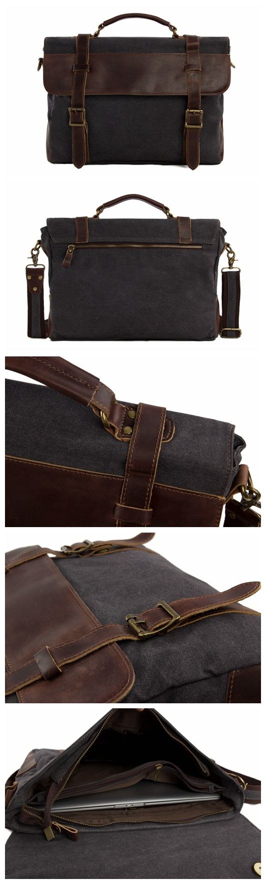 High Fashion Canvas Leather Briefcase, Messenger Bag Canvas Shoulder Bag