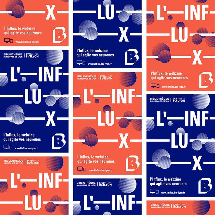 Graphéine Graphic design layout Blue Reflex - Minimal Moving Poster Typography  L'influx, le webzine qui agite les neurones. Bibliothèques de Lyon.