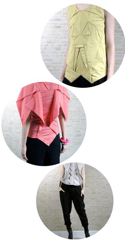 Origami Fashion at Olive Shoppe. #designformankind #fashion #origami #folding #yellow #pink #gray #shirt #style