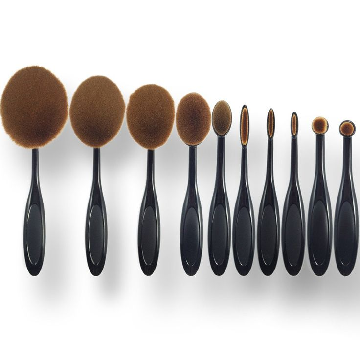 2016 New 10pcs/set Tooth Brush Shape Oval Makeup Brush Set Professional Foundation Powder make up brushes pinceaux maquillage