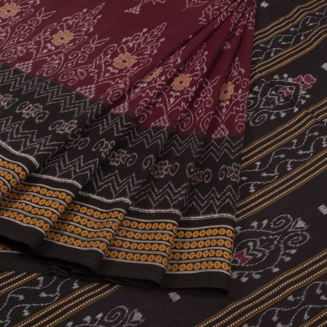 Handwoven Maroon Ikat Padma Cotton Saree With Floral Motifs & Without Blouse 10016157 - AVISHYA.COM