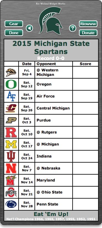 BACK OF WIDGET - Free 2015 Michigan State Spartans Football Schedule Widget - Eat 'Em Up! - National Champions 1966, 1965, 1957, 1955, 1952, 1951 http://riowww.com/teamPages/Michigan_State_Spartans.htm