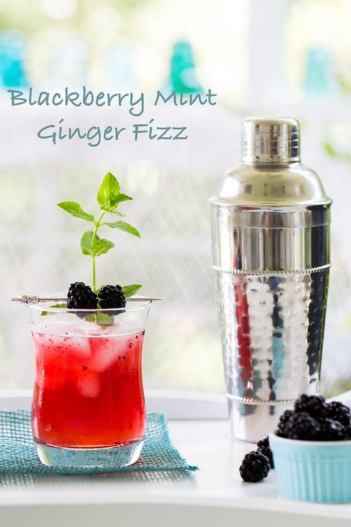 Blackberry Mint Ginger Gin Fizz - Blackberries, mint, ginger beer and gin make a refreshing cocktail!