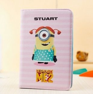 Cute Despicable Me 2 Minions Flip PU Leather Stand Case for iPad mini 2/1 7.85 inch with Retina Display Free Shipping $9.00