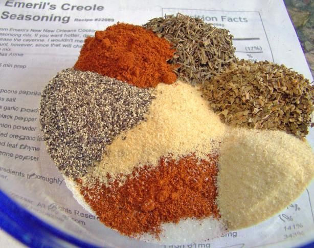 Emeril's Creole Seasoning recipe --- use light grey celtic sea salt and organic spices, and make your own seasoning blends (no MSG!)