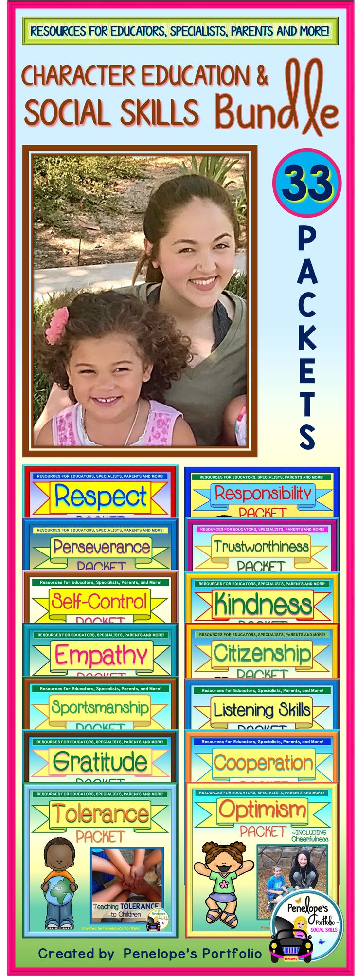 Teaching kids virtues, social skills, and character traits is extremely important. This bundle is made up of all the character education - social skills packets available in my store at a discounted price. Activities, printable, posters, and more!  Great for General Education Teachers. Special Education Teachers, School Counselors, Social Workers, Speech Therapists, Homeschooling Parents.  https://www.teacherspayteachers.com/Product/Character-Education-Social-Skills-BUNDLE-2185002