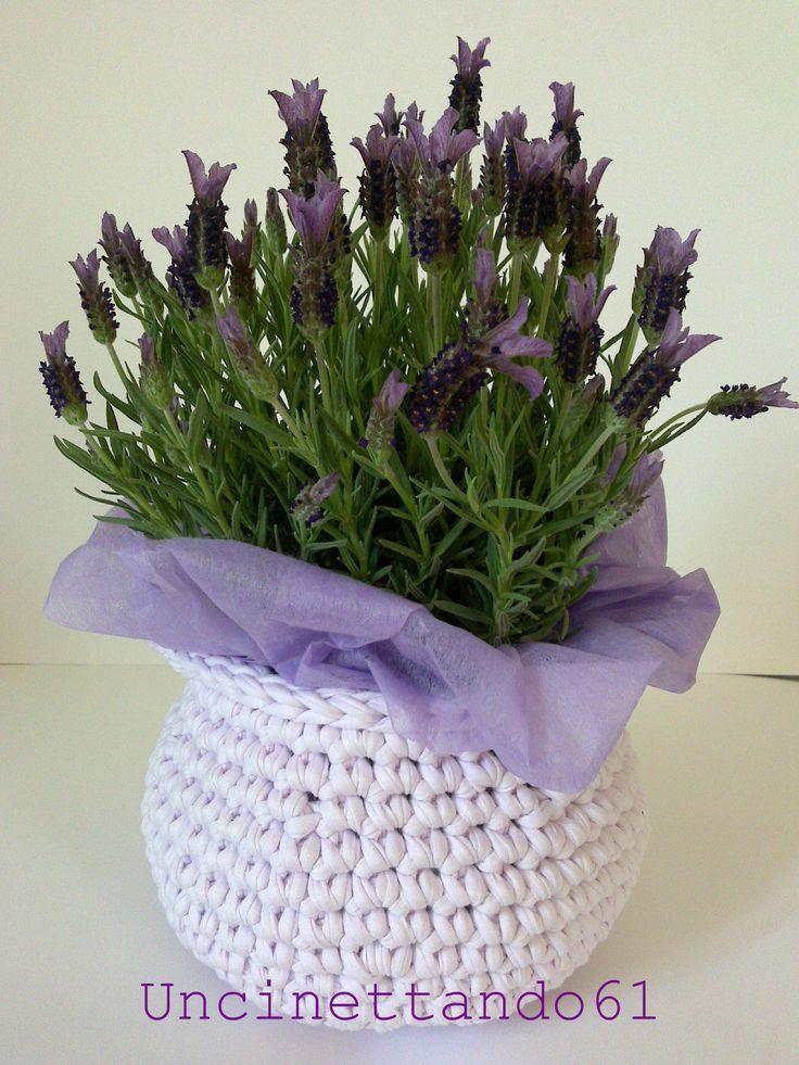 cestino/coprivaso in fettuccia di cotone con piccoli manici