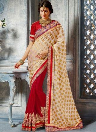 Hot Red And Cream Jacquard Half N Half Bridal Saree http://www.angelnx.com/Sarees