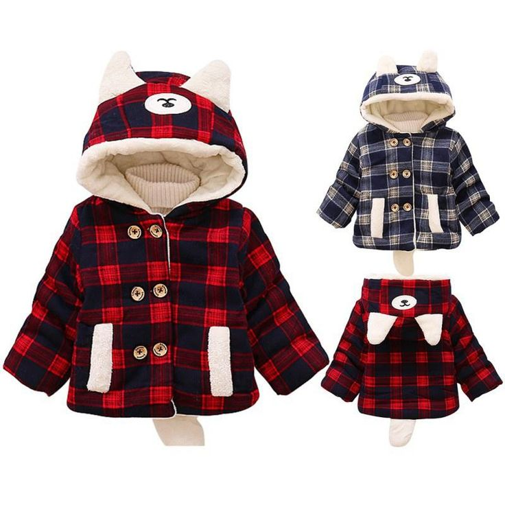 FREE SHIPPING Children Winter Coat Hooded Jacket Kids Thicker Baby Outerwear Boys Girls Warm Plaid Clothing