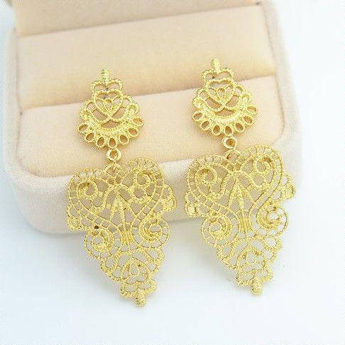$8 Gold Bohemian Geometric Heart Earrings