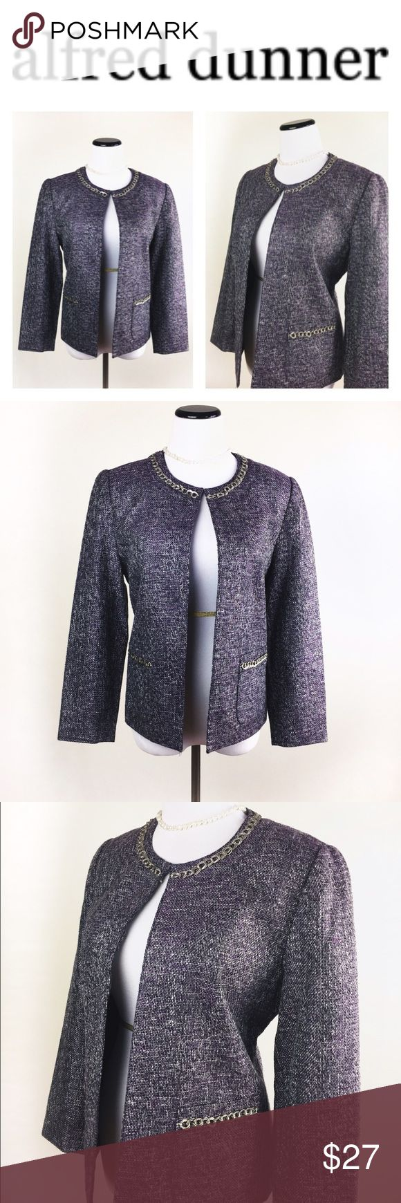 ALFRED DUNNER TWEED PURPLE AND SILVER BLAZER SZ12 Elegant Alfred Dunner tweed purple and silver blazer in size 8p. Pre owned, no holes or stains. Has the look and feel of pre owned. Looks great! Questions? Ask me 💖😉 Alfred Dunner Jackets & Coats Blazers