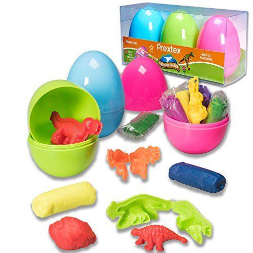 Prextex Huevos de Pascua Sorpresa Jumbo de 10cm con Plastilina y Moldes de Juguete 3D de Dinosaurios - Divertidos Huevos Para Modelar