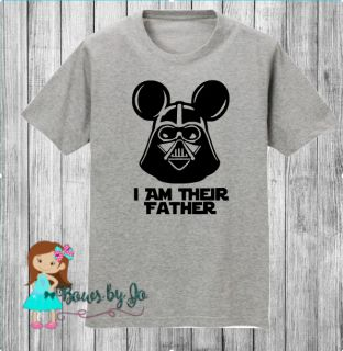 Cute vacation shirt for any dad, I am their Father mickey eared darth vader, star wars inspired shirt.