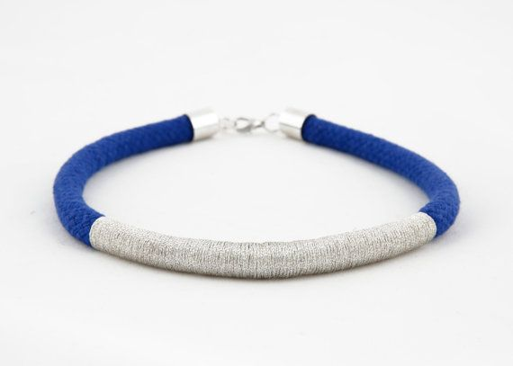 Blue and silver wrap rope choker necklace on Etsy, $35.00 AUD