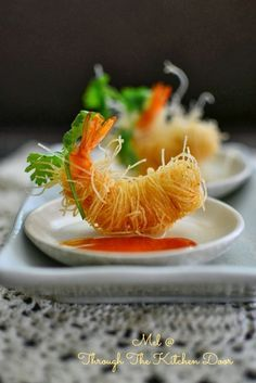 "Through The Kitchen Door: ""Goong Sarong"" (Deep Fried Prawns Wrapped In Vermicelli) #plating #presentation"